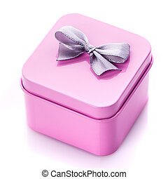 Holiday gift. Pink gift box with bow.