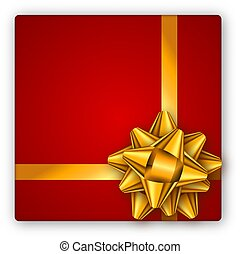 Holiday gift red box with golden ribbon and bow. Template for a business card, banner, poster, flyer, notebook, invitation