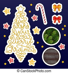 Holiday gift stickers with hand lettering We wish You a Merry Christmas in the form of a Christmas tree, bow, stars, candy, fir branches and wood background