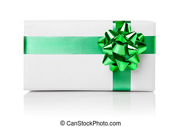 Holiday gift with green ribbon isolated on white