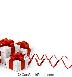 Holiday gifts - Decorative holiday gifts in white boxes with...