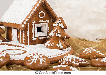 Holiday Gingerbread house on white.