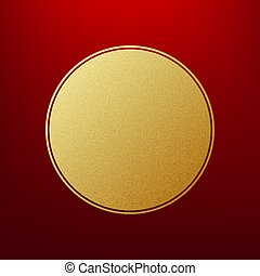 Holiday gold round frame on red background template. EPS 10