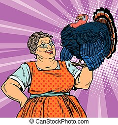 Holiday grandma with a live Turkey, pop art retro vector...