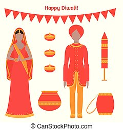 holiday greeting card. Light festival of India Happy Diwali....