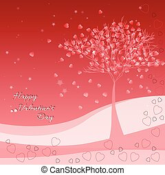 Holiday greeting card with tree of love on Valentine's day. February 14 - day for all lovers