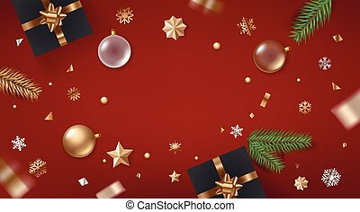 Holiday greeting frame. Banner with golden bauble and confetti. Top view