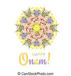 Holiday greetings illustration of Onam background