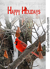 Holiday Greetings - Male cardinal in winter tree with...