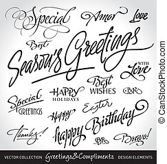 holiday greetings (vector) - set of seasonal & holiday ...