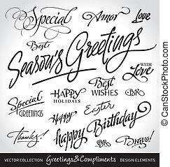 holiday greetings (vector) - set of seasonal & holiday...