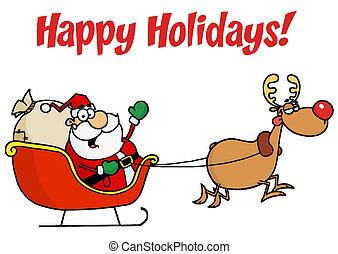 Holiday Greetings With Santa Claus - Happy Holidays Greeting...