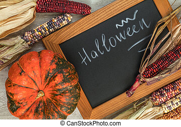 Holiday Halloween background with indian multicolored corn,...