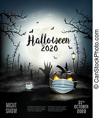 Holiday Halloween background with pumpkins wearing medical face mask and silhouettes of bats, dead trees and big moon. Halloween festival in Covid-19. Coronavirus concept. Vector