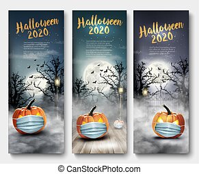 Holiday Halloween banners with pumpkins wearing medical face mask and silhouettes of bats, dead trees and big moon. Halloween festival in Covid-19. Coronavirus concept. Vector