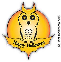 Holiday Halloween Owl - Illustraion of an owl silhouette...