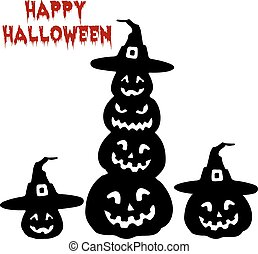 Holiday Halloween, Silhouette collection of pumpkin, cartoon on white background,