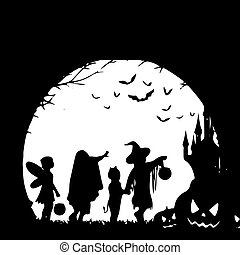Holiday Halloween, silhouette on a white background.