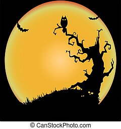 Holiday Halloween, the night of a terrible tree and an owl, illustration silhouette.