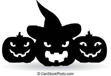 Holiday Halloween, three dark pumpkins, silhouette on white background.