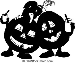 Holiday Halloween, two dark pumpkins drink juice, silhouette on a white background.