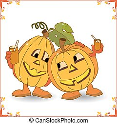 Holiday Halloween, two merry pumpkins rest and drink juice (in a frame), a cartoon on a white background.