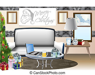 holiday home scene vector