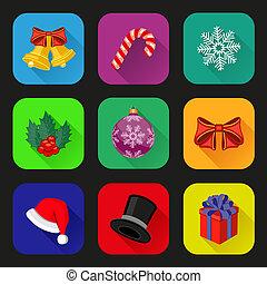 Holiday icons set. Flat design