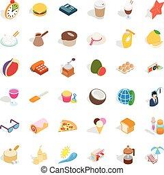 Holiday icons set, isometric style