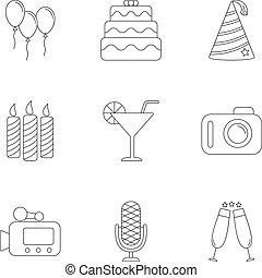 Holiday icons set, outline style