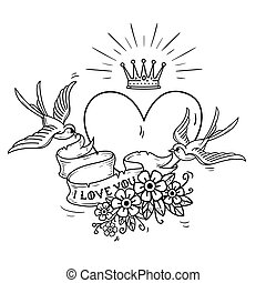 Holiday illustration with heart and gold crown. Swallows fly and hold ribbon decorated with flowers. I love you