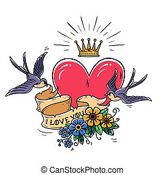 Holiday illustration with pink heart and gold crown. Swallows fly and hold ribbon decorated with flowers. I love you