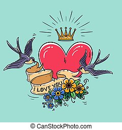 Holiday illustration with red heart and gold crown. Swallows fly and hold ribbon decorated with flowers. Valentines Day