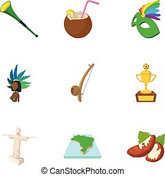 Holiday in Brazil icons set, cartoon style