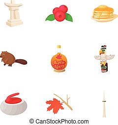Holiday in Canada icons set, cartoon style
