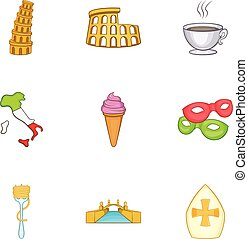 Holiday in Italy icons set, cartoon style