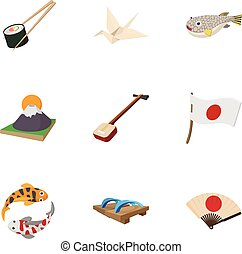 Holiday in Japan icons set, cartoon style - Holiday in Japan...