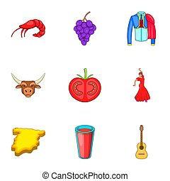 Holiday in Spain icons set, cartoon style