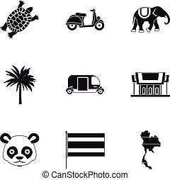 Holiday in Thailand icons set, simple style