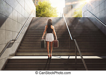 Holiday in town. 3D Rendering - Woman with suitcase climbing...
