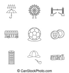 Holiday in United Kingdom icons set, outline style