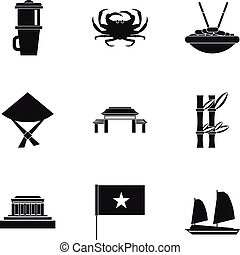 Holiday in Vietnam icons set, simple style
