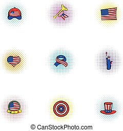 Holiday independence day of USA icons set