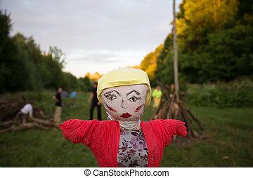 Holiday Ivan Kupala. Traditional effigy for burning
