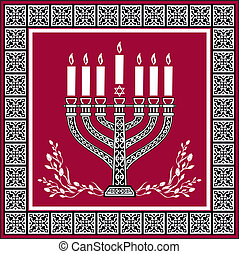 Holiday jewish background with menorah - vector background