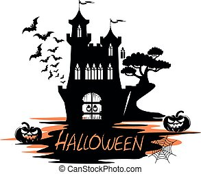 Holiday label for halloween with castle