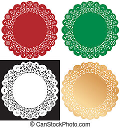 Vintage lace doily place mats for Christmas, holiday celebrations, setting table, cake decorating, scrapbooks, copy space.