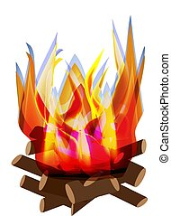 Holiday Lag Ba'omer. Lag baomer. Big bonfire. The fire is bright. Barbecue. Vector illustration on isolated background.