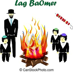 Holiday Lag Ba'omer. Lag baomer. Children, Hasidim. Religious Jews. Big bonfire. The fire is bright. Barbecue. Vector illustration on isolated background.
