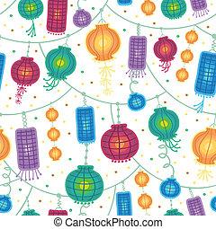 Holiday lanterns seamless pattern background - Vector...